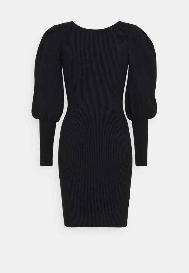 PUFF SLEEVE DRESS WITH LOW BACK - Jumper dress - black