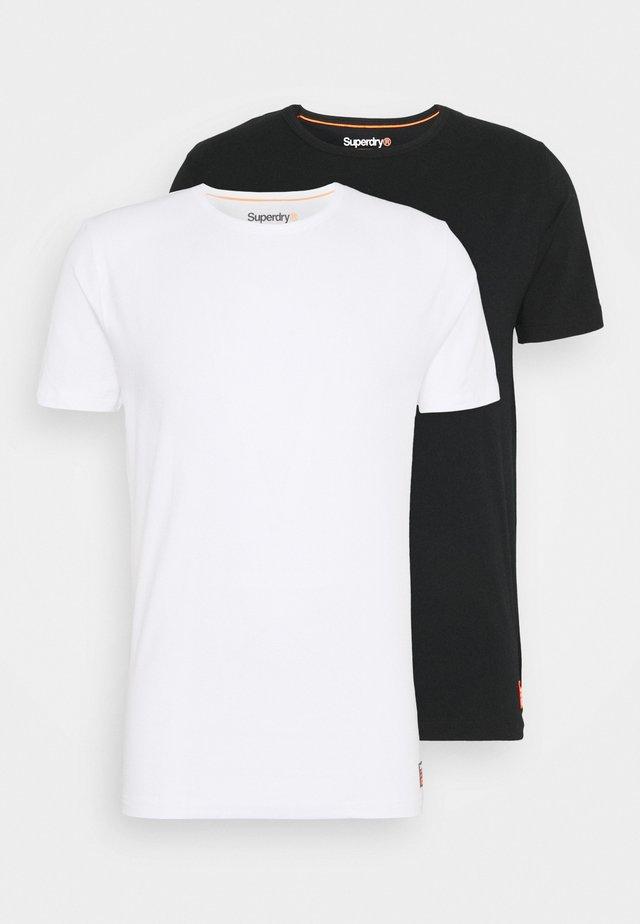 LAUNDRY SLIM TEE 2 PACK - T-shirt basic - white/lblack