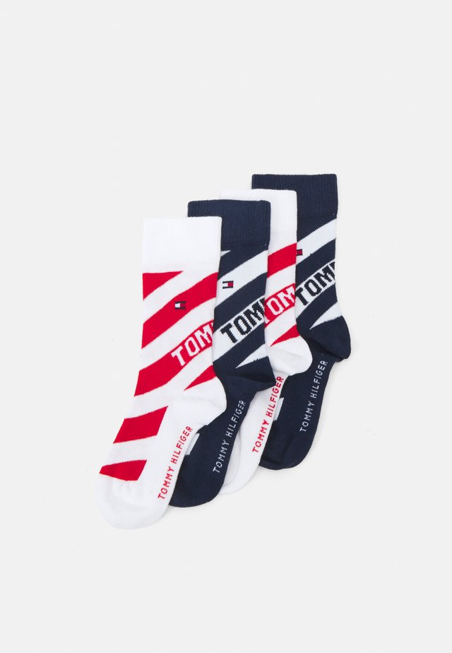 KIDS SOCK DIAGONAL STRIPE 4 PACK UNISEX - Socks - blue/red/white