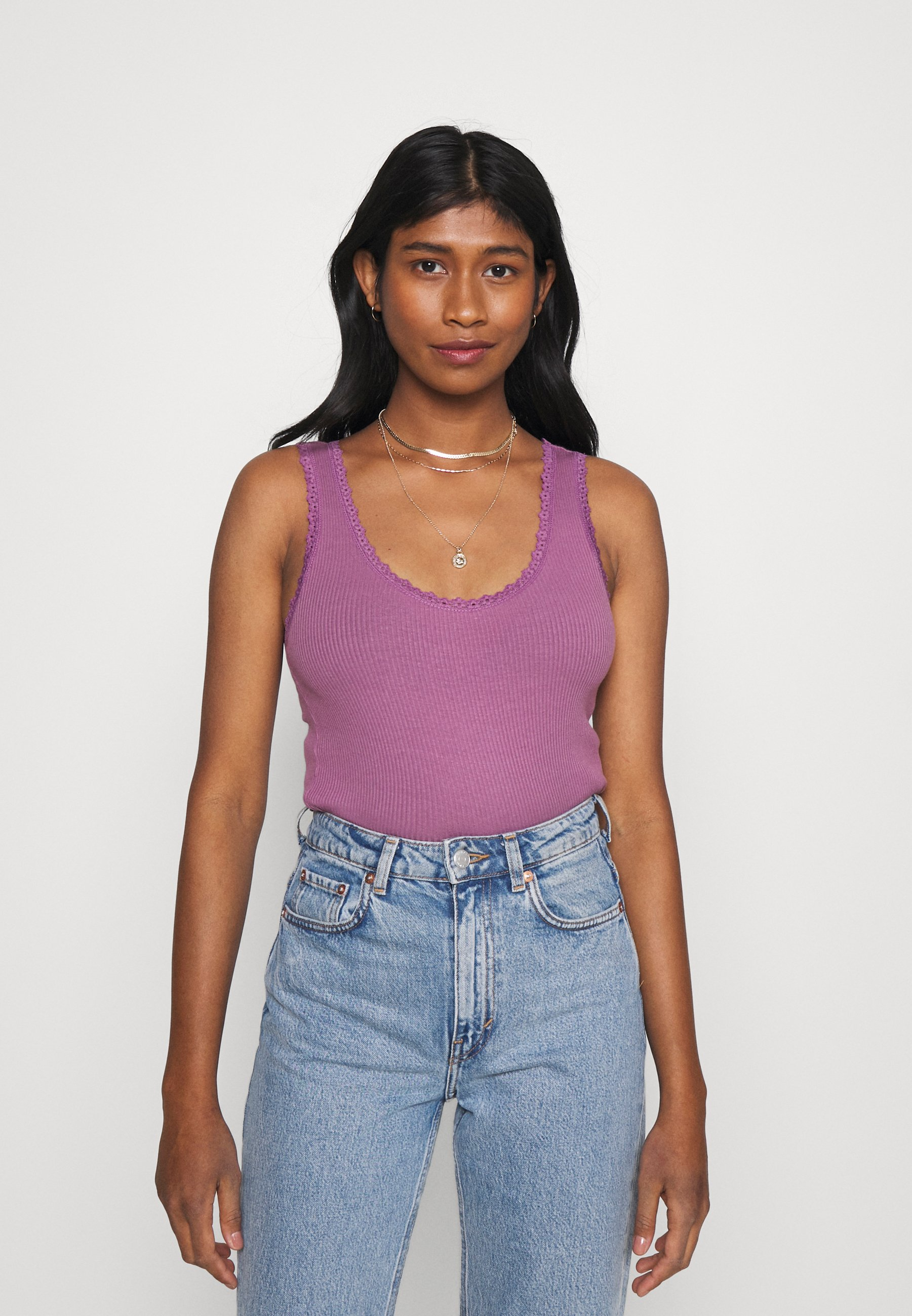 Women PICOT TRIMMED TANK - Top