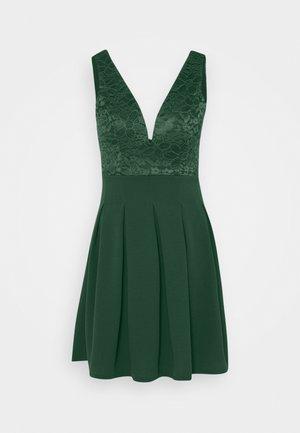 PLEATED SKATER DRESS - Jersey dress - forest green
