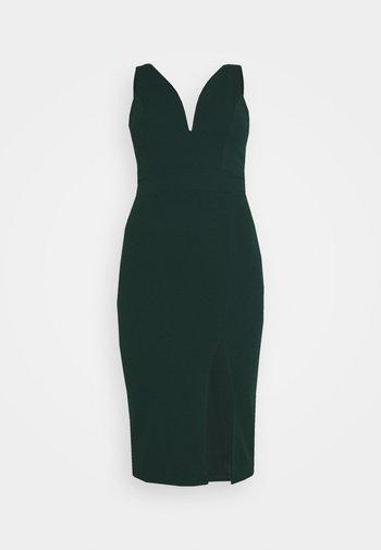 V NECK PLUNGE MIDI DRESS - Jersey dress - forest green