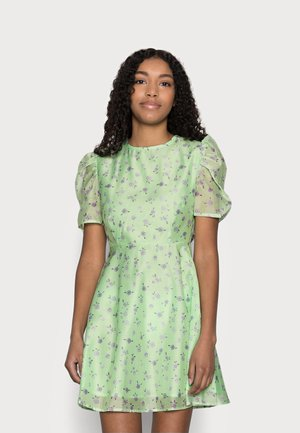 PUFF SLEEVE SKATER DRESS - Denní šaty - green/watercolour
