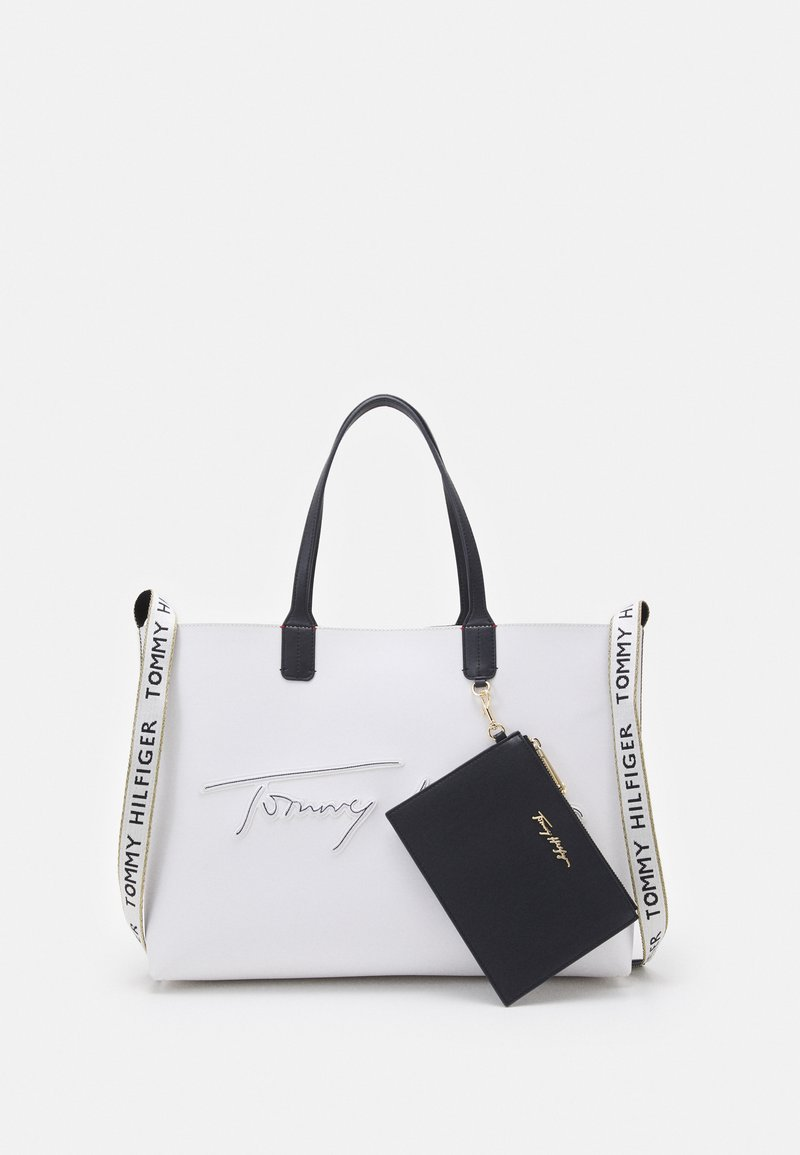 Tommy Hilfiger - ICONIC TOTE SIGNATURE SET - Tote bag - white
