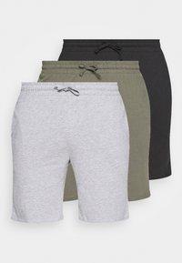 Pier One - 3 PACK - Pyjamahousut/-shortsit - black/mottled grey/khaki - 0