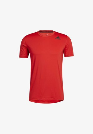 TURF SS PRIMEGREEN TECHFIT TRAINING WORKOUT COMPRESSION T-SHIRT - T-shirt med print - red