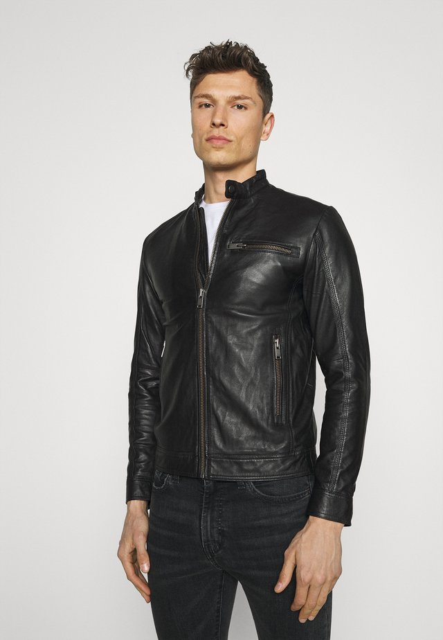 SLHICONIC CLASSIC - Leather jacket - black