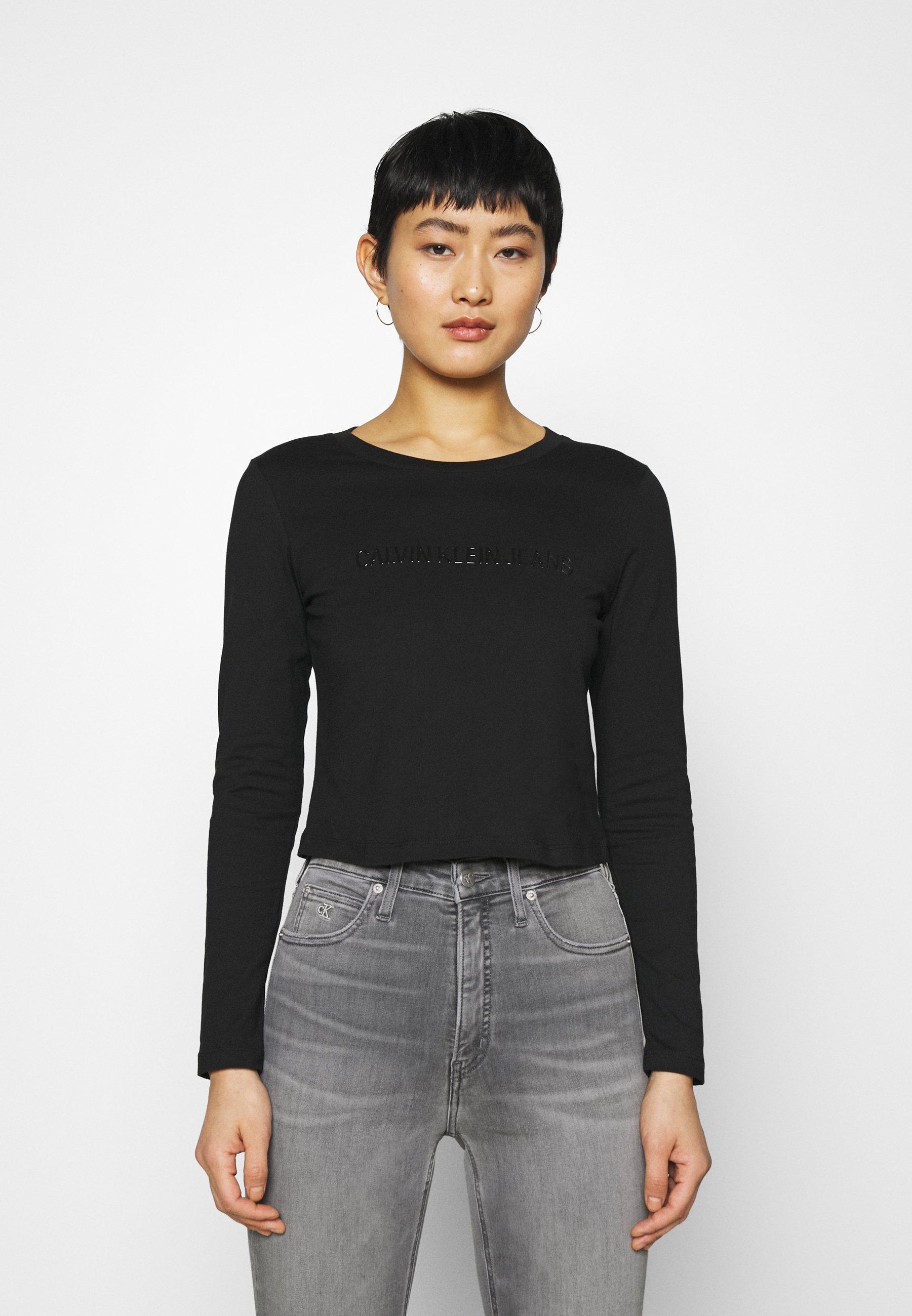 Women SHINY CROP TEE - Long sleeved top