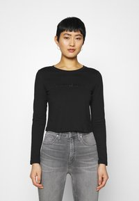 Calvin Klein Jeans - SHINY CROP TEE - Long sleeved top - black - 0