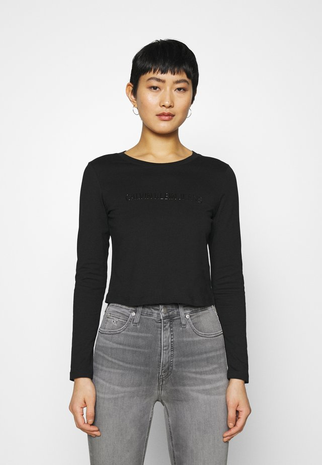SHINY CROP TEE - Pitkähihainen paita - black