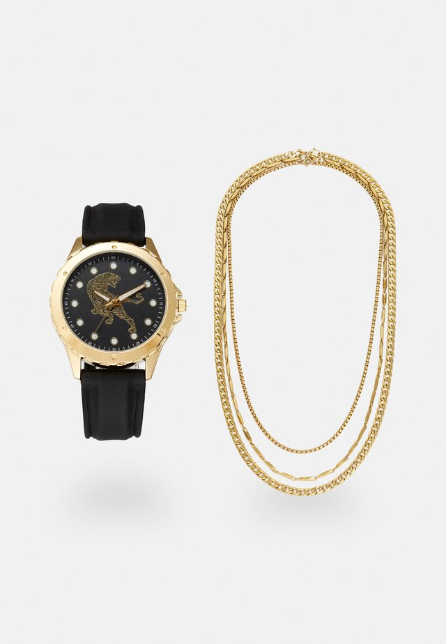 WATCH NECKLACES GIFT SET - Reloj - black/gold-coloured