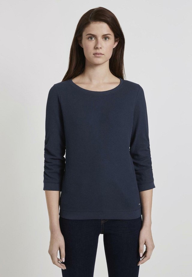 WAFFLE STRUCTURED  - Sweter - real navy blue