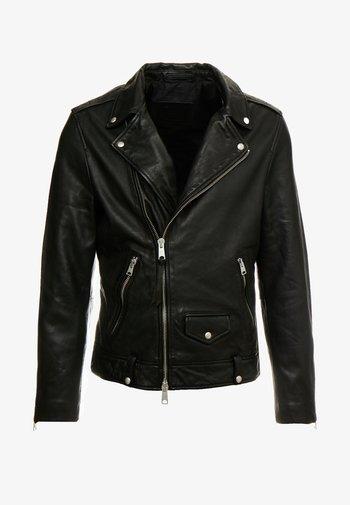 MILO BIKER - Leather jacket - black