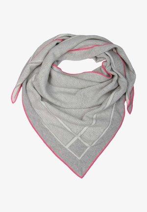 MIT PINKER KANTE - Foulard - hellgrau mit pinker kante