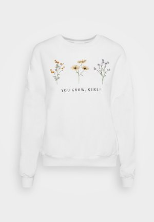 FLOWER  PRINTED SWEATER - Sweater - white