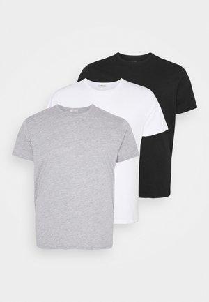 3 PACK - Basic T-shirt - black/grey/white