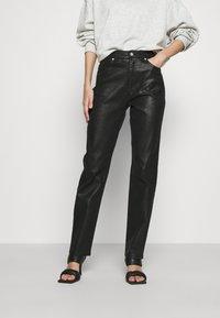 NA-KD - HIGH WAIST - Straight leg jeans - black - 0