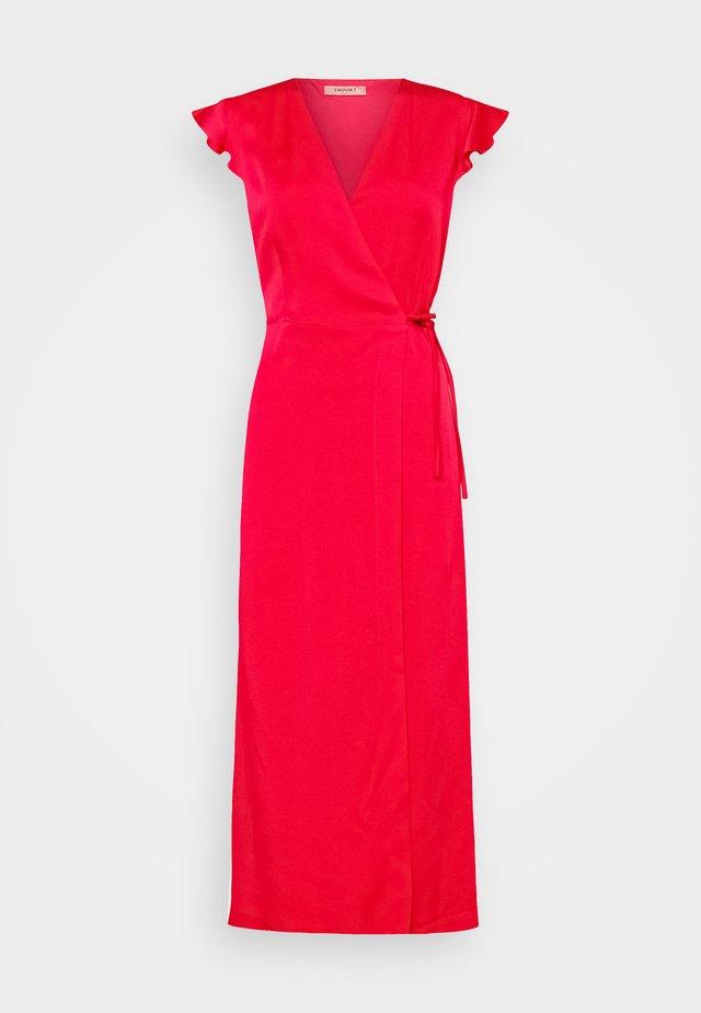 ABITO LUNGO A PORTAFOGLIO IN CADY ENVER  - Maxi-jurk - rosa neon