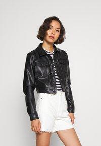ONLY - ONLVIBE TRUCKER JACKET - Faux leather jacket - black - 3