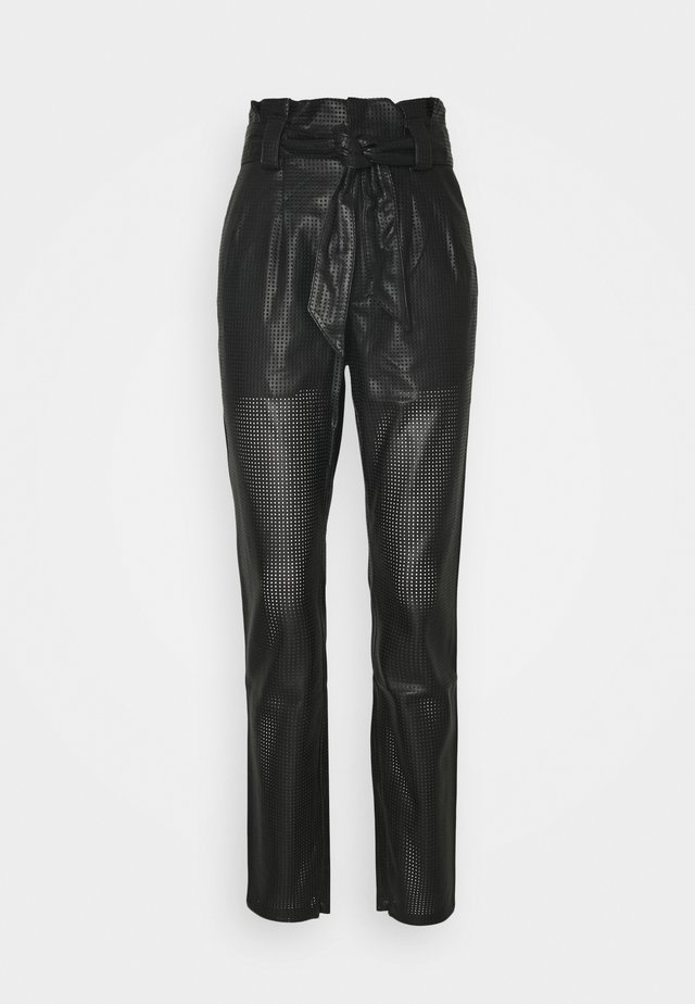 PERFORATED PLEATED PANT - Trousers - black
