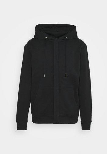 PAUL AARON HIDDEN ZIP HOODIE - Zip-up hoodie - black