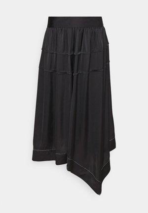 PIN TUCKED ASYMMETRICAL SCARF HEM SKIRT - Jupe trapèze - black
