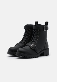 Rubi Shoes by Cotton On - DUA LACE UP BOOT - Nauhalliset nilkkurit - black smooth - 2