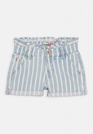 DALMINE - Denim shorts - blue/white