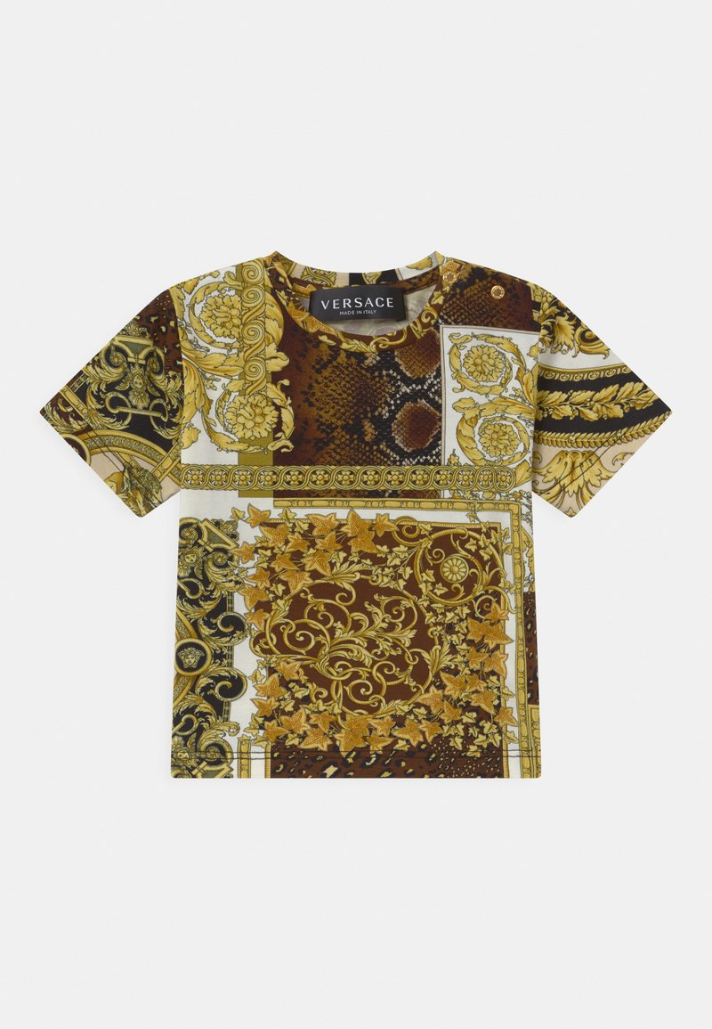 Versace - BAROQUE PRINT PATCHWORK UNISEX - Print T-shirt - gold/brown/white