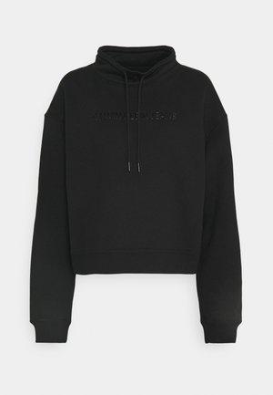 SHINY RAISED INST MOCK NECK - Sweatshirt - black