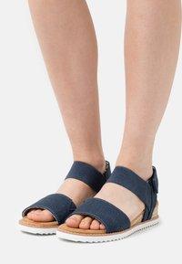 Skechers - DESERT KISS - Wedge sandals - navy - 0