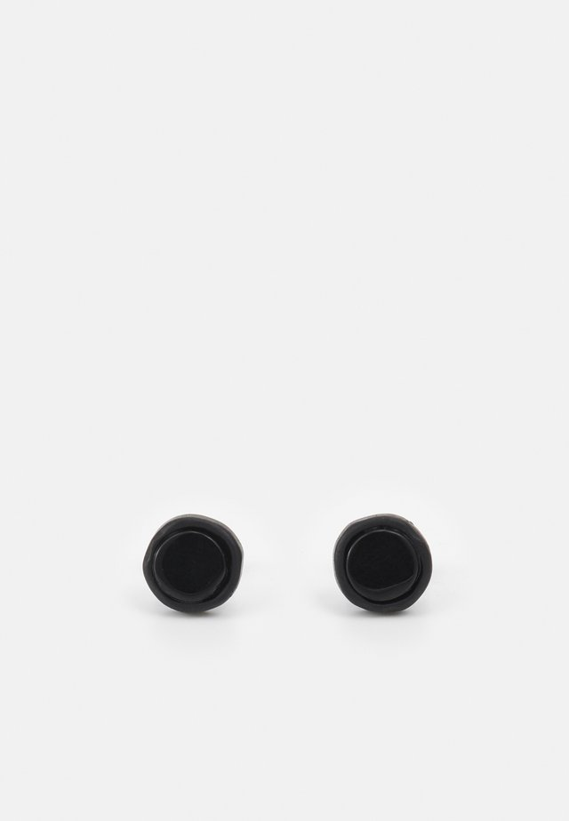 CRACKED ROUND COMPOSITE STUD EARRINGS - Náušnice - black