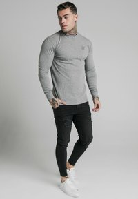 SIKSILK - RIB KNIT TEE - Long sleeved top - grey - 1