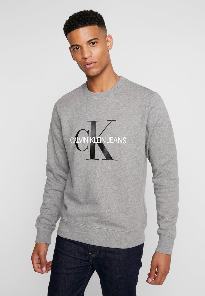Calvin Klein Jeans - ICONIC MONOGRAM CREWNECK - Mikina - mid heather grey