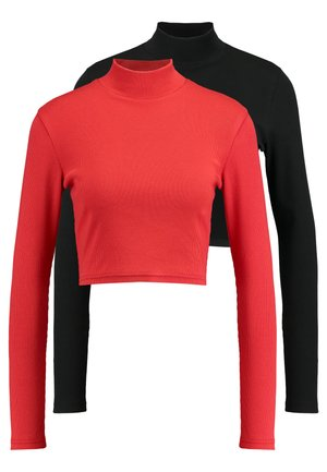 HIGH NECK CROP 2 PACK - Long sleeved top - black/red