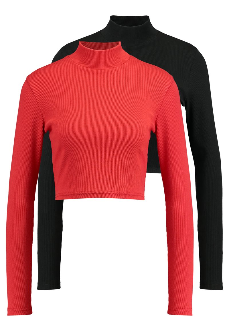 Missguided - HIGH NECK CROP 2 PACK - Long sleeved top - black/red