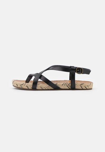VEGAN GRANOLA - T-bar sandals - black dyecut