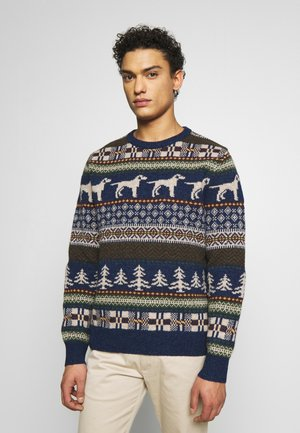 KNOLL SUPERSOFT DOG FAIRISLE CREW - Jumper - heather indigo