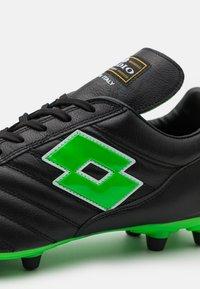 Lotto - STADIO OG II FG - Botas de fútbol con tacos - all black/spring green - 5