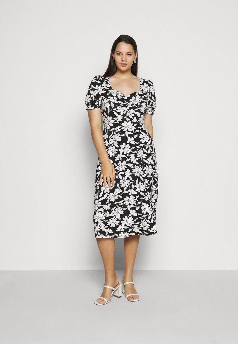 Dorothy Perkins Curve - CURVE RUCHED FLORAL MIDI - Day dress - multi coloured