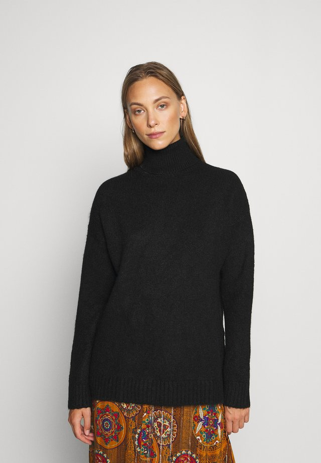 TURTLE NECK- WOOL BLEND - Jumper -  black