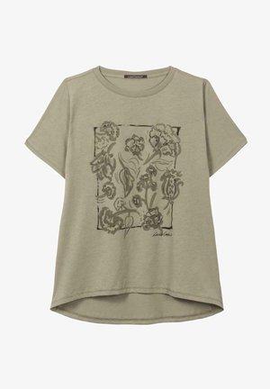 MIT BLUMEN-PRINT - Print T-shirt - sage