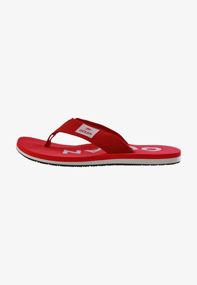 T-bar sandals - rot/weiß