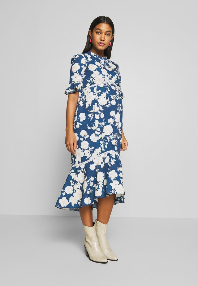FLUTED SLEEVE SKATER DRESS - Robe d'été - navy