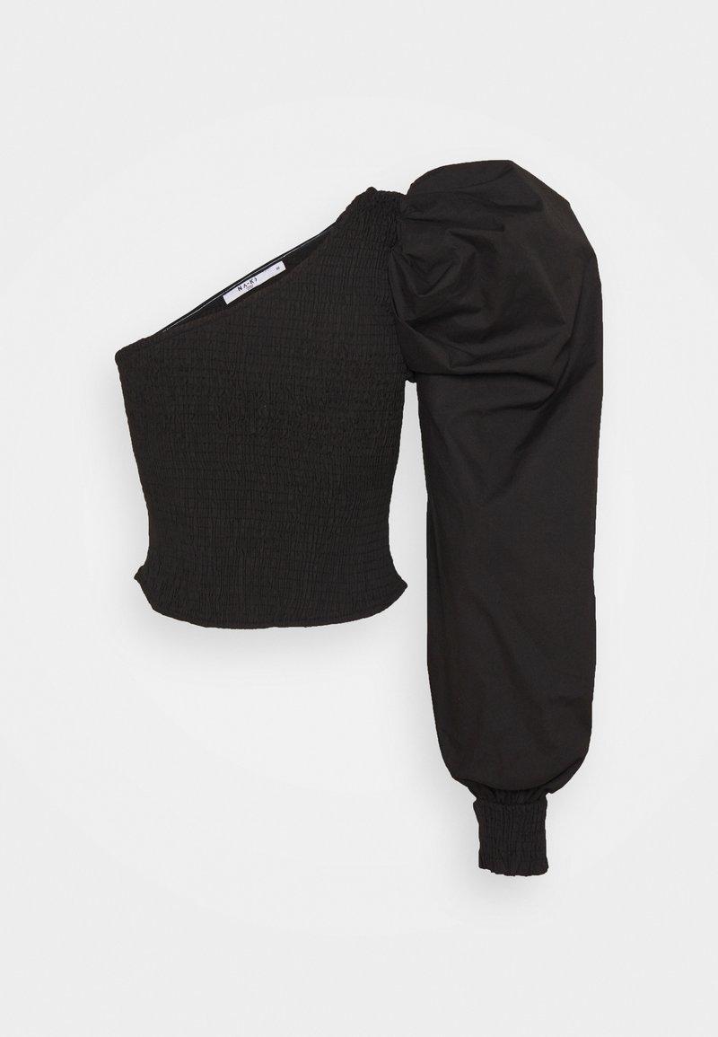 NA-KD - ONE SHOULDER PUFFY SLEEVE SMOCKED - Blouse - black