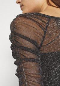 Dorothy Perkins - RUCHED SLEEVE GLITTER TOP - Top sdlouhým rukávem - black - 4