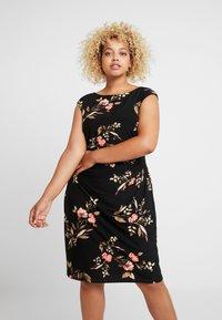 Lauren Ralph Lauren Woman - NOVELLINA CAP SLEEVE DAY DRESS - Jersey dress - black/pink/multi - 0