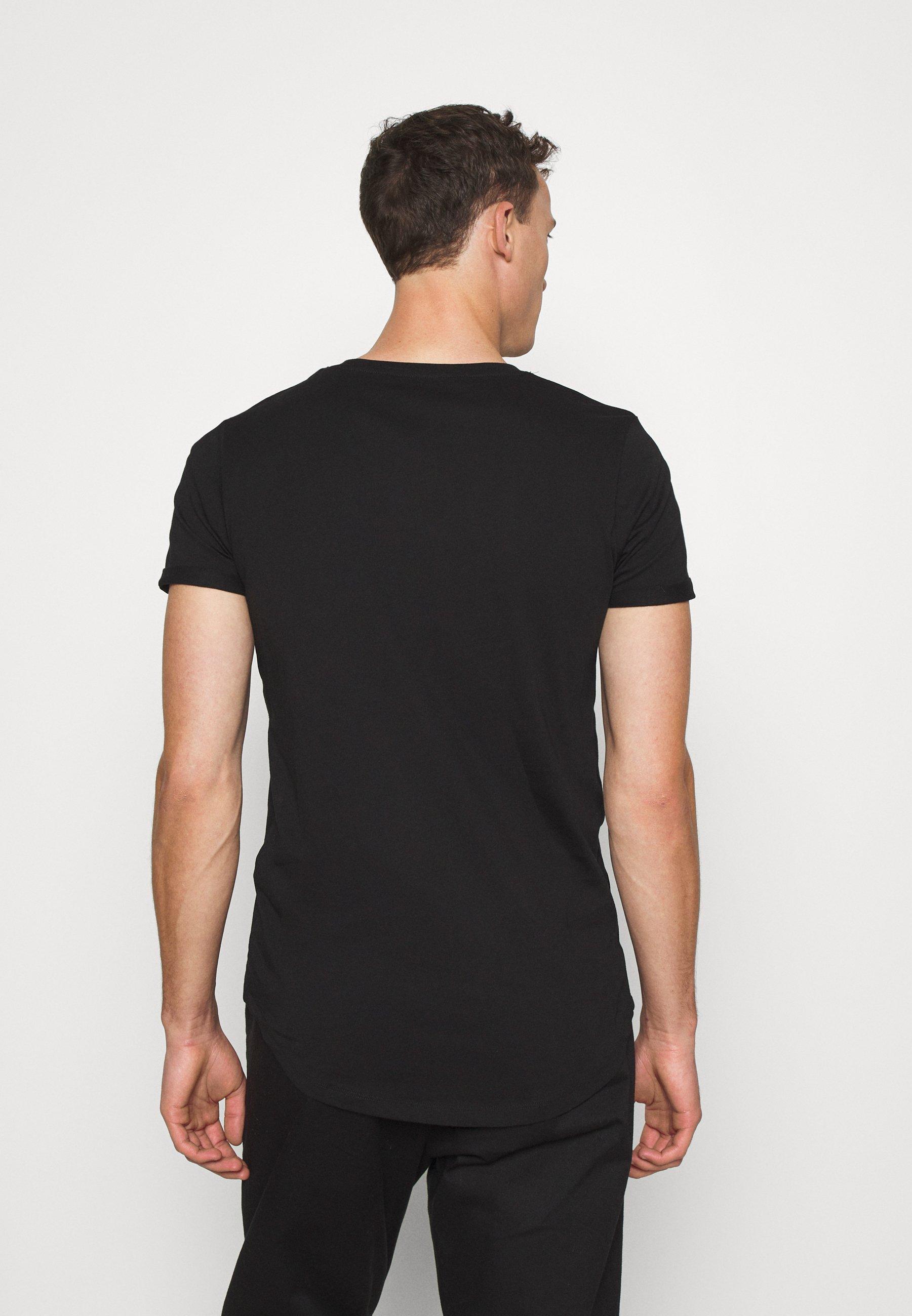 TOM TAILOR DENIM LONG BASIC WITH LOGO - Basic T-shirt - black S4opu