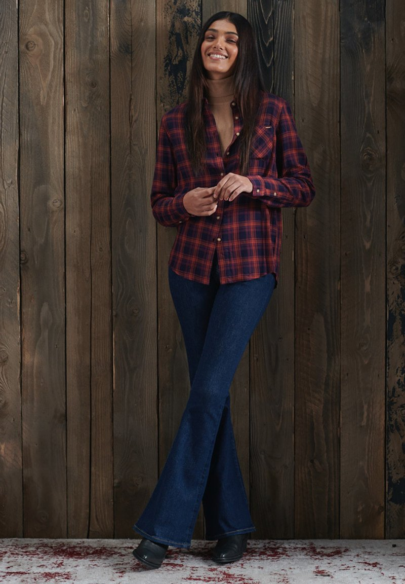 Superdry - Button-down blouse - navy rust check