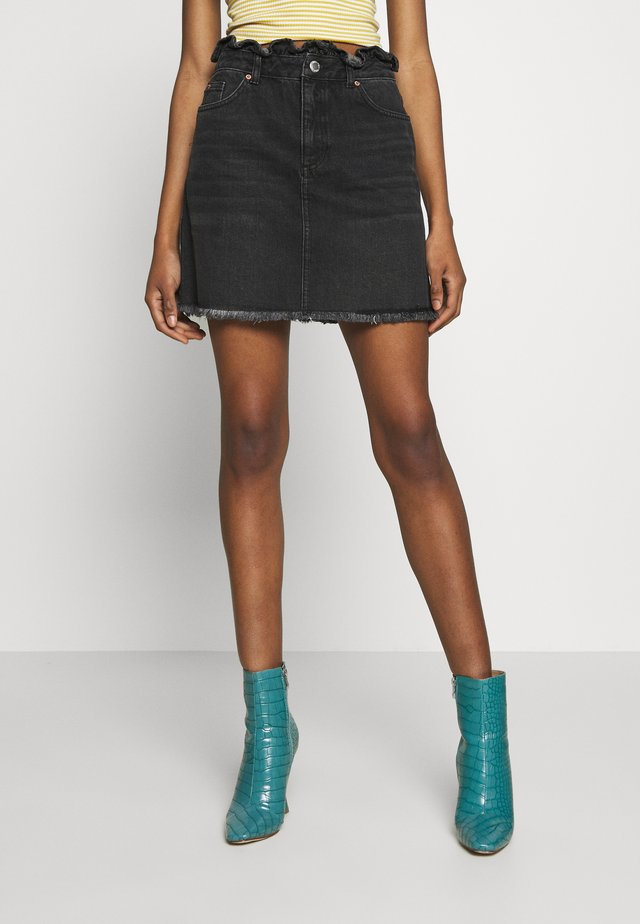 FRILL TOP SKIRT - Denim skirt - black